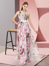 Multi-color Zipper Prom Party Dress Pattern Sleeveless Floor Length