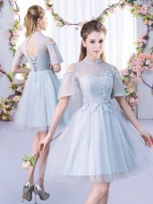 Colorful Mini Length Lace Up Bridesmaids Dress Grey for Prom and Party and Wedding Party with Lace