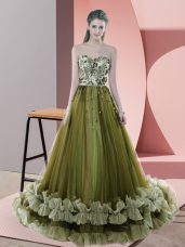Beading and Appliques Prom Party Dress Olive Green Lace Up Sleeveless Sweep Train