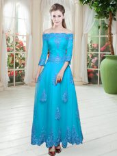 Sexy Floor Length Blue Prom Gown Off The Shoulder 3 4 Length Sleeve Lace Up