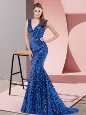 Trendy Royal Blue Mermaid Sequined V-neck Sleeveless Beading Lace Up Sweep Train