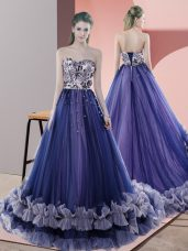 Blue Sleeveless Tulle Sweep Train Lace Up Evening Dress for Prom and Party and Military Ball