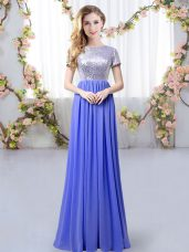 Beautiful Scoop Short Sleeves Zipper Damas Dress Lavender Chiffon