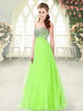 Sweetheart Sleeveless Floor Length Beading Tulle
