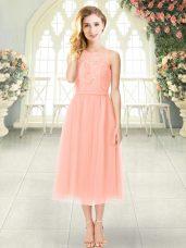 Customized Peach Empire Lace Prom Evening Gown Zipper Chiffon Sleeveless Tea Length