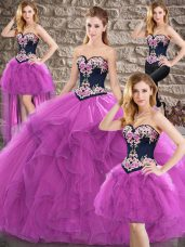 Beading and Embroidery Vestidos de Quinceanera Purple Lace Up Sleeveless Floor Length