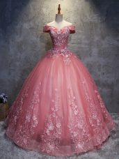Fashionable Watermelon Red Sleeveless Tulle Lace Up Sweet 16 Quinceanera Dress for Military Ball and Sweet 16 and Quinceanera