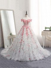 Enchanting Off The Shoulder Sleeveless Tulle Quinceanera Dress Appliques Brush Train Lace Up