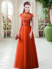 Suitable Appliques Orange Red Lace Up Cap Sleeves Floor Length