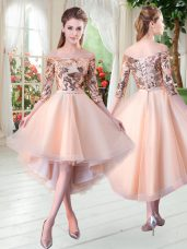 Enchanting Peach 3 4 Length Sleeve Sequins High Low Dress for Prom