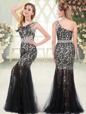 Unique Black Tulle Zipper Sleeveless Floor Length Beading and Lace