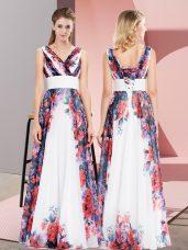 Floor Length White Formal Dresses Chiffon Sleeveless Pattern