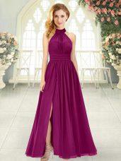 Sleeveless Ruching Zipper Evening Dress