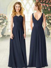 Black Sleeveless Floor Length Ruching Zipper Party Dresses