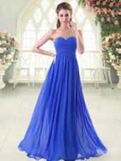Sleeveless Chiffon Floor Length Zipper Prom Dresses in Royal Blue with Beading