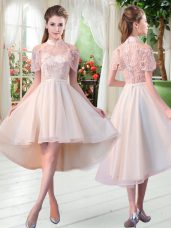 Champagne Tulle Zipper Prom Dress Short Sleeves High Low Lace