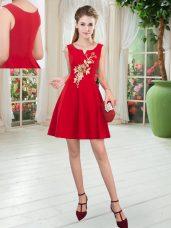 Mini Length Red Prom Party Dress Scoop Sleeveless Zipper