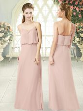 Pink Prom and Party with Ruching Spaghetti Straps Sleeveless Zipper