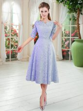 Blue Zipper V-neck Lace Homecoming Dress Half Sleeves