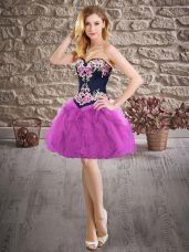 Mini Length Purple Prom Dresses Sweetheart Sleeveless Lace Up