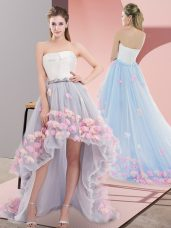 Custom Fit High Low A-line Sleeveless Grey Dress for Prom Lace Up
