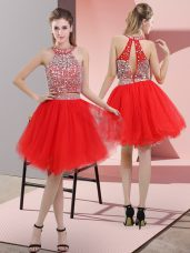 Custom Fit Red Two Pieces Organza Halter Top Sleeveless Beading Knee Length Backless Party Dress Wholesale
