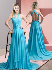 Super Sleeveless Sweep Train Beading and Ruching Backless Evening Dress
