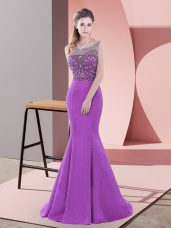 Fashion Purple Mermaid Scoop Sleeveless Satin Sweep Train Backless Beading and Lace Party Dress