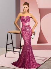 Glittering Pink Backless Prom Evening Gown Beading Sleeveless Sweep Train