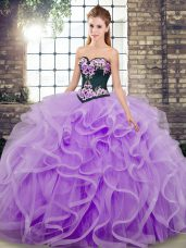Sweep Train Ball Gowns Sweet 16 Dresses Lavender Sweetheart Tulle Sleeveless Lace Up