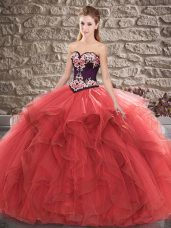 Flare Red Sweetheart Lace Up Beading and Embroidery 15 Quinceanera Dress Sleeveless