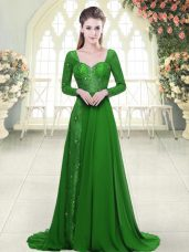 Stunning Green Dress for Prom Chiffon Sweep Train Long Sleeves Beading