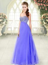 Glorious Lavender Sleeveless Beading Floor Length Prom Dress