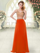 Elegant Rust Red Prom Dress Prom and Party with Beading Straps Sleeveless Zipper