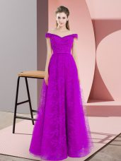 Beading and Lace Prom Party Dress Purple Lace Up Sleeveless Floor Length