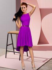 Fine Purple Lace Up Homecoming Dress Sleeveless High Low Belt