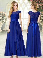 Vintage Chiffon Scoop Cap Sleeves Zipper Lace Party Dress Wholesale in Royal Blue