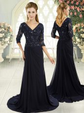 Graceful Navy Blue V-neck Half Sleeves Sweep Train Zipper