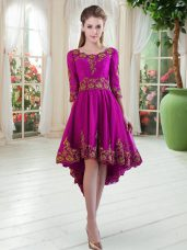 Purple A-line Embroidery Prom Dress Lace Up Tulle Long Sleeves High Low