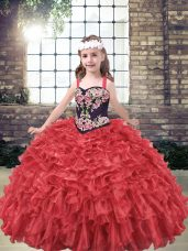 Eye-catching Red Lace Up Little Girl Pageant Gowns Embroidery and Ruffles Sleeveless Floor Length