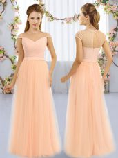 Peach Cap Sleeves Tulle Zipper Bridesmaids Dress for Prom and Party and Wedding Party
