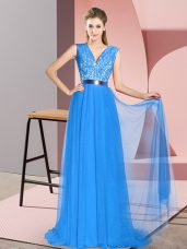 Lovely Tulle Sleeveless Prom Evening Gown Sweep Train and Beading and Lace