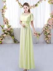 Super Floor Length Yellow Green Dama Dress for Quinceanera Chiffon Short Sleeves Appliques
