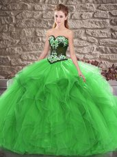 Green Tulle Lace Up Sweetheart Sleeveless Floor Length Ball Gown Prom Dress Beading and Embroidery