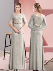 Grey Column/Sheath Belt Evening Dress Zipper Half Sleeves Floor Length