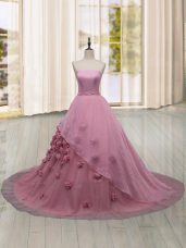 Sexy Pink Lace Up Quinceanera Gowns Hand Made Flower Sleeveless Brush Train