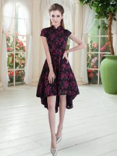 Lace High-neck Short Sleeves Zipper Appliques Prom Evening Gown in Pink And Black