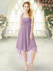 Attractive Sleeveless Chiffon High Low Zipper Prom Dresses in Purple with Ruching