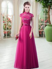 Short Sleeves Floor Length Lace Lace Up Prom Dress with Hot Pink