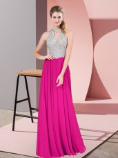 Suitable Floor Length Zipper Dress for Prom Fuchsia for Prom and Party with Beading